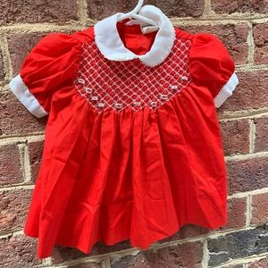 Vintage Nannette Red Smocked Infant Dress 9-12 mos